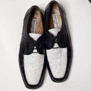 Belvedere Ostrich Dress Shoes Mens 14 Medium Black